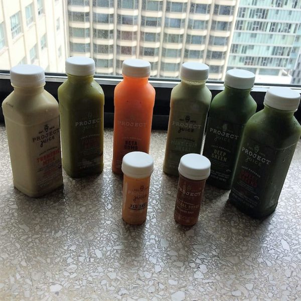 Line up of my Project Juice Haul for a conference in Chicago